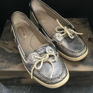 JUST IN Silver Sperry Topsider Flats